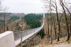 The Geierlay is a suspension bridge Stock Photos