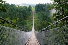Geierlay suspension bridge. In the German region of Hunsrück stock photos