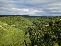 Geierlay upphängningbro, Moersdorf, Tyskland Royaltyfri Bild