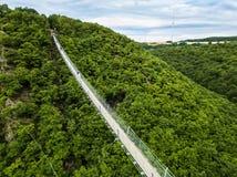 Geierlay upphängningbro, Moersdorf, Tyskland Arkivbild