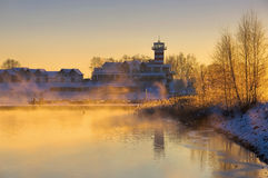 Geierswalde lighthouse in the morning Royalty Free Stock Photos