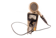 Geiger Counter. /surveyor with probe facing outward measuring radiation Stock Photography