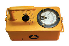 Geiger Counter. Yellow and antique geiger instrument Stock Photo