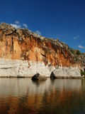 Geikie Gorge. National Park is located in the Kimberley region of Western Australia.  was created when the Fitzroy River eroded a deep, narrow passage into the Stock Photography