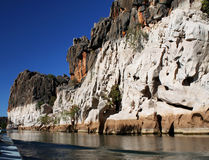 Geikie Gorge, Kimberley. Cruising along the Fitzroy river in Geikie Gorge National Park, part of the Kimberley region in north Western Australia Stock Photo