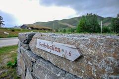 GEILO,挪威- 2015年7月:Geilohallen小标志在市Geilo,挪威 库存图片