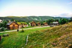 GEILO NORGE - JULI, 2015: Gamla traditionella framehouses med gräs på taket i mitt av dalen, Geilo, Norge Royaltyfri Fotografi