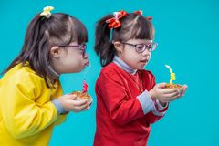 Geinteresseerde aanbiddelijke zusters die cakes dragen en op kaars blazen stock afbeeldingen