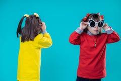 Geinteresseerde kortharige meisjes die met geestelijke wanorde op reuzezonnebril proberen stock fotografie