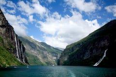 Geiranger峡湾挪威 库存照片