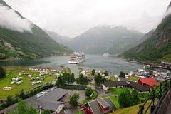 Geiranger海湾挪威 免版税库存照片