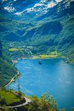 Geiranger海湾的壮观的看法在挪威 库存照片