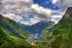 Geiranger海湾,挪威看法  库存图片