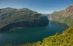Geiranger海湾,挪威 免版税库存图片