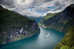 Geiranger海湾,挪威 免版税图库摄影