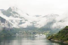 Geiranger码头挪威 免版税库存图片