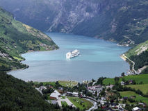 Geiranger. Picturesque, beautiful bay with a cruise ship Stock Images