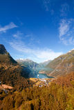 Geiranger autumn. Scenic landscapes of the northern Norwegian fjords Stock Photo