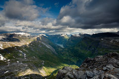 Geiranger from Dalsnibba. View from the mountain Dalsnibba in Norway with the famous Geiranger fjord in the distance Stock Photography