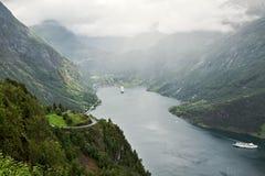 Geiranger at the end of the Sunnylvsfjorden, Norway Stock Photo
