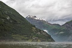 Geiranger at the end of the Sunnylvsfjorden, Norway Stock Image