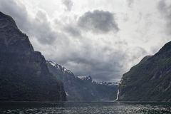 Geiranger at the end of the Sunnylvsfjorden, Norway Royalty Free Stock Images
