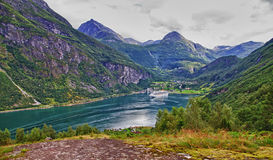 Geiranger fiord. The end of Geiranger fiord, Norway Royalty Free Stock Images
