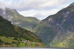 Geiranger. Fiordeo landscape blue and green geiranger royalty free stock photo