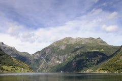 Geiranger. Fiordeo landscape blue and green geiranger stock image
