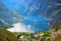 Geiranger fjord. Norway Geiranger fjord. View from mountain Royalty Free Stock Photos