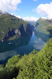 Geiranger Fjord. From the top of Omevegen. Norway Royalty Free Stock Photo