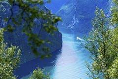 Geiranger fjord. Aerial scenic view Stock Images