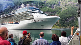Geiranger fjord with cruise trip in Norway Stock Photo