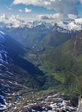 Geiranger fjord. Geiranger from the heights with beautiful mountain pass stock photography
