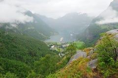 Geiranger fjord Norge Arkivfoton