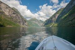 Geiranger fjord, Norge Arkivbild