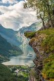 Geiranger fjord, Norge Fotografering för Bildbyråer