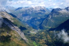 Geiranger fjord in Norway. Panorama of Geiranger fjord. Picture is taken from Dalsnibba mountain Stock Photography