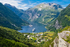 Geiranger Fjord, Norway. Geiranger Fjord and stunning natural landscape, Norway Royalty Free Stock Photo