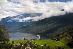 Geiranger fjord, Norway. End of the famous Geiranger fjord, Norway with cruise ship Stock Photo