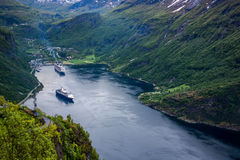 Geiranger fjord, Norway. Geiranger fjord, Beautiful Nature Norway. It is a 15-kilometre (9.3 mi) long branch off of the Sunnylvsfjorden, which is a branch off Royalty Free Stock Image