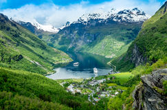 Geiranger fjord, Norway. Geiranger fjord, Beautiful Nature Norway. It is a 15-kilometre (9.3 mi) long branch off of the Sunnylvsfjorden, which is a branch off Royalty Free Stock Images