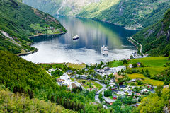 Geiranger fjord, Norway. Geiranger fjord, Beautiful Nature Norway. It is a 15-kilometre (9.3 mi) long branch off of the Sunnylvsfjorden, which is a branch off Royalty Free Stock Photography