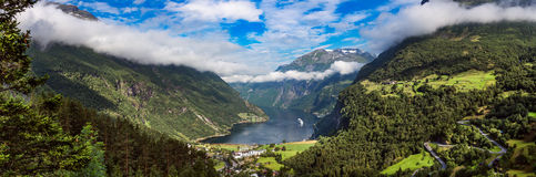 Geiranger fjord, Norway. Geiranger fjord, Beautiful Nature Norway panorama. It is a 15-kilometre (9.3 mi) long branch off of the Sunnylvsfjorden, which is a Stock Photos