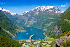 Geiranger fjord. Norway with cruise ship Royalty Free Stock Photo