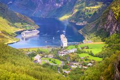 Geiranger Fjord in Norway stock images