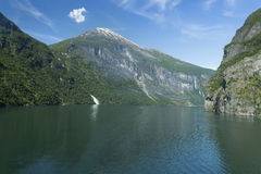 Geiranger fjord, Norway. Image shows a panoramic view Geiranger Fjord in Norway royalty free stock image