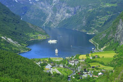 Geiranger fjord, Norway town Stock Photography