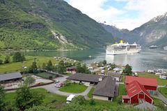 Geiranger fjord with cruise ship, Norway. stock photos