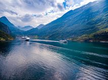 Geiranger fjord, Norwegia powietrzna fotografia Zdjęcia Royalty Free